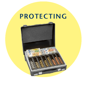 Perfect support by INKiESS in protecting banknotes, coins and documents